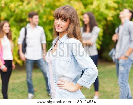 Outdoor portrait of a smiling student