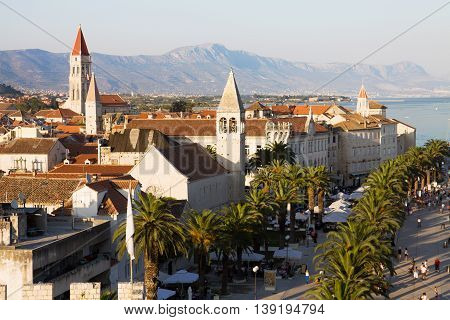 TROGIR, CROATIA - AUGUST 24, 2012: Trogir cityscape in Croatia. Trogir is a historic town on the Adriatic coast. Its historical center is enrolled on the UNESCO list of World Heritage Sites.