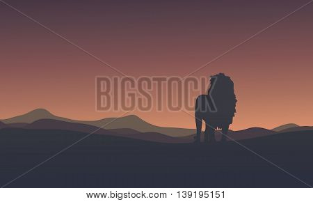 Silhouette of lion beautiful scenery vector illustration
