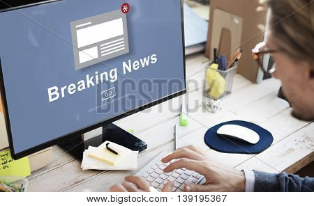 Breaking News Announcement Broadcast Article Concept