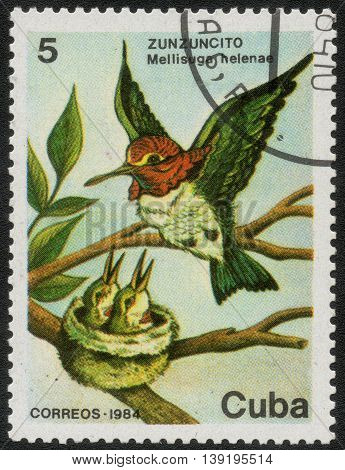 CUBA - CIRCA 1984: A post stamp printed in Cuba shows a series of images