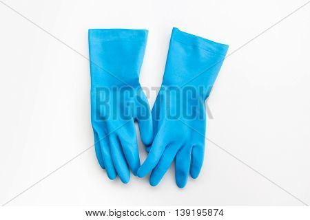 Blue gloves made from rubber for cleaner