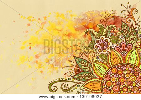 Floral Pattern, Symbolic Flowers and Leafs, Colorful Ornament on yellow Hand-Draw Watercolor Painting Background