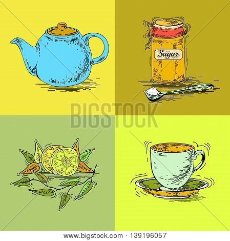 Hand drawn tea set. Teapot vector. Vintage tea posters. Set of tea vector graphic designs. Vintage pamphlet. Tea labels. Tea ware. Cup saucer maker dessert