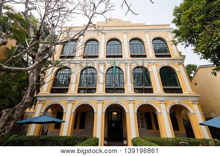 Senado, Macau - February 3, 2015: The Sir Robert Ho Tung Library is a public library in Macau. It is located in St. Augustine's Square in the Historic Centre of Macau, a UNESCO world heritage site