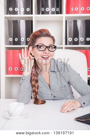 Business Woman Eavesdrop In The Office