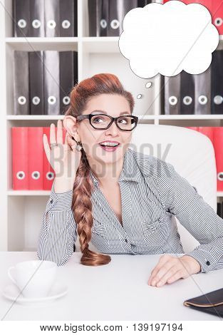 Smiling Business Woman With Big Ear Eavesdrop