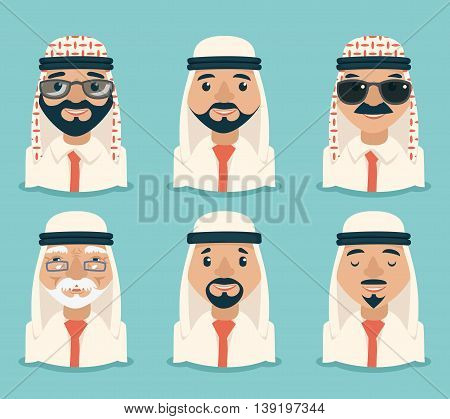 Arab Avatars Businessman Young Adult Old Retro Vintage Set Traditional National Muslim Clothes Cartoon Characters Icon Stylish Background Retro Cartoon Design Vector Illustration