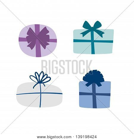 Set of vector colorful gift boxes with ribbons and bows in flat style for design templates.