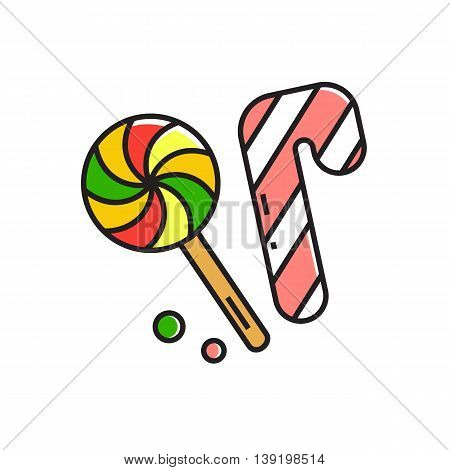 Illustration of candy cane and lollipop. Sweets, food, holiday. Food concept. Can be used for topics like food, Christmas, sweets