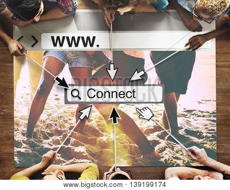 Connect Link Network Online Website Technology UI Concept