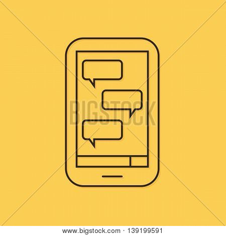Modern vector mobile, sms chat with blank message boxes linear icon, illustration.