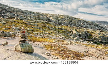 Landscape Of Norwegian Mountains. Nature Of Norway. Travel And Hiking. Amazing Scenic View At Sunny Summer Day. Nobody. Scandinavia. Blue Sky