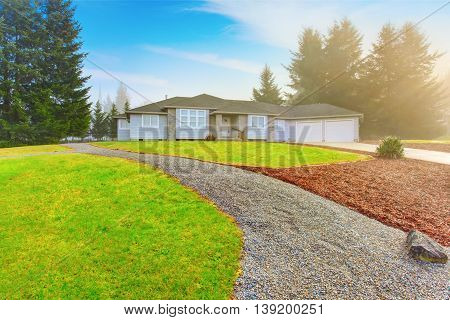 Nice Modern House With Driveway And Well Kept Lawn Around