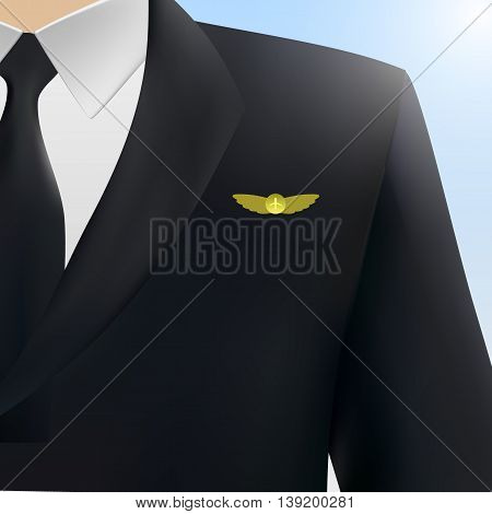 Vector illustration pilot, captain, aviator uniform coat with golden badge wings eps10