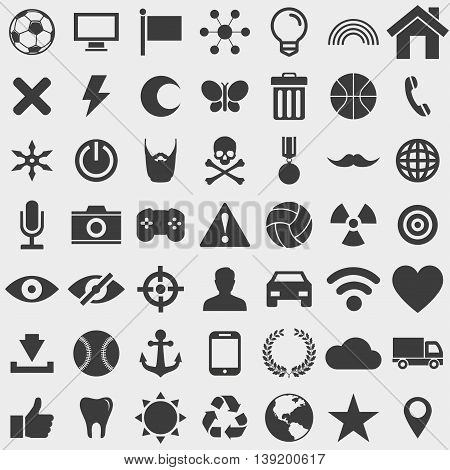 Big set of different icons in a flat design in black color. Vector illustration eps10