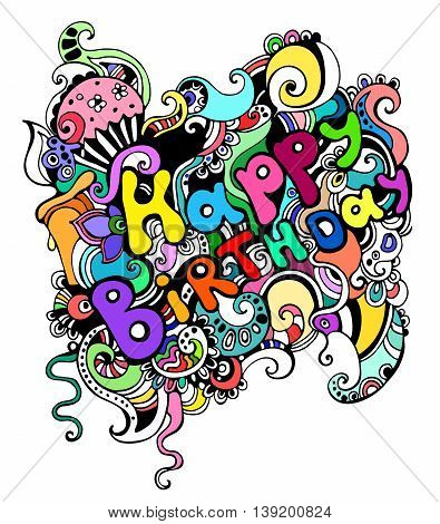 vector illustration of a greeting happy birthday card