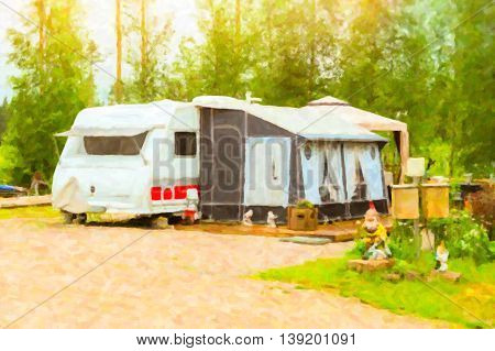 Summer outdoor recreation Scandinavian vacation in house on wheels. Camping vans and tents parked on a green meadow in campsite among trees. Campsite, Finland