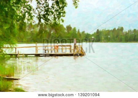Cloudy summer day on the lake. Wooden boat dock overlooking the water. Area for summer camping in the woods. Campsite, Hamina, Finland