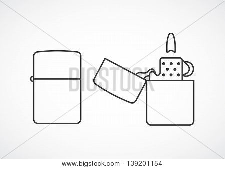 Icon lighter opening and closing. Vector line minimal icon
