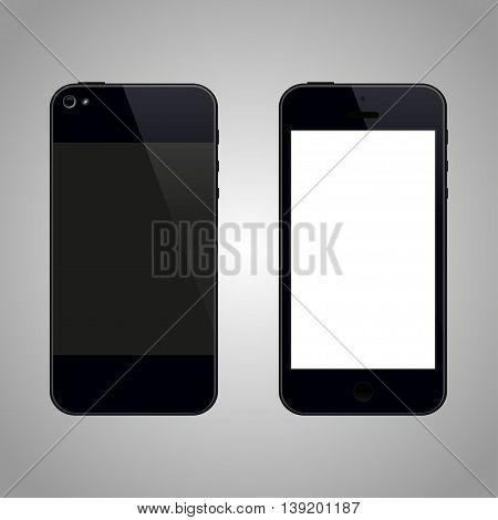 Smartphone Front and Back View. Vector illustration