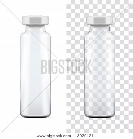 Transparent glass medical ampoule with aluminium cap. Vector illustration.