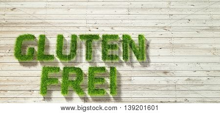 glutenfrei made of grass on white wood background