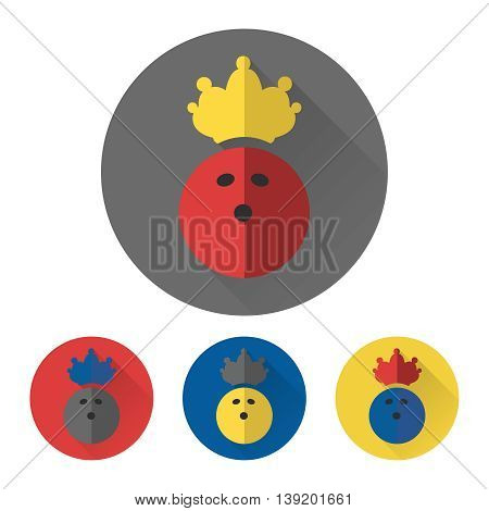 Flat bowling ball with crown. Bowling icons vector