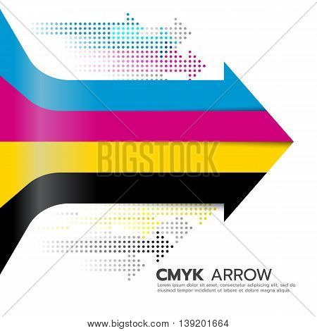 CMYK (cyan and magenta and yellow and key or black) arrow line and dot arrow vector art design