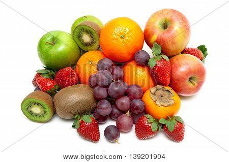 berries and ripe fruit isolated on white background. horizontal photo.