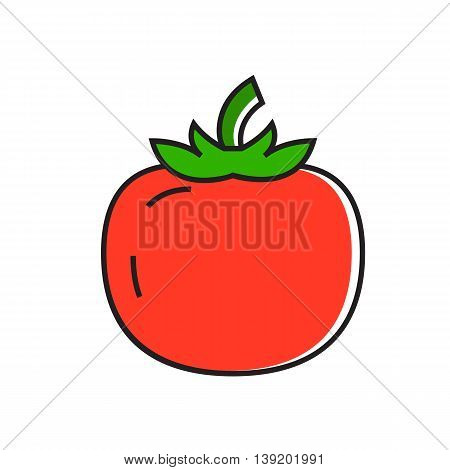 Illustration of red tomato. Healthy food, vegetable, cooking. Tomato concept. Can be used for topics like healthy food, vegetables, agriculture