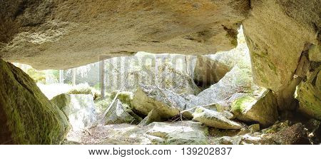 Panoramic Hdr Image Of Cave Under A Big Rock In Sweden
