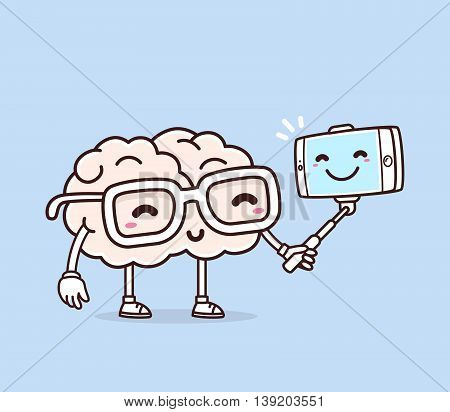 Vector illustration of retro pastel color smile pink brain with glasses making selfie on blue background. Creative cartoon brain concept. Doodle style. Thin line art flat design of character brain for mobile selfie theme
