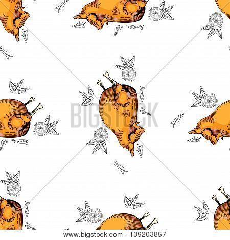 Vector seamless pattern. Pattern with food background. chicken meat - seamless background. hand drawn fast food vector pattern. Doodle style chicken background