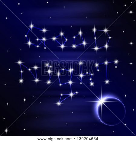 Poster of wish good night on space background. Vector illustration 10 EPS