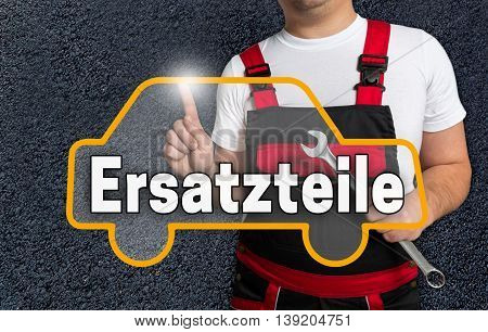 Ersatzteile (in German Spare Parts) Touchscreen Is Operated By Car Mechanics