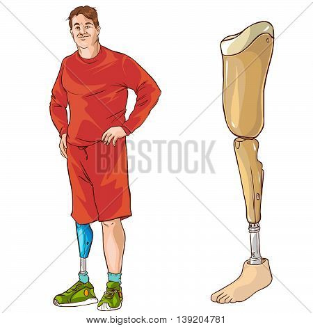 white background vector illustration of a prosthetic leg