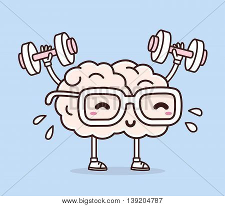 Vector illustration of retro pastel color smile pink brain with glasses lifts with dumbbells on blue background. Fitness cartoon brain concept. Doodle style. Thin line art flat design of character brain for sport training education theme