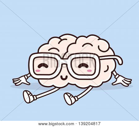 Vector illustration of retro pastel color sitting smile pink brain with glasses on blue background. Creative cartoon brain concept. Doodle style. Thin line art flat design of character brain for brainstorm science training education theme