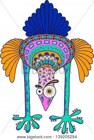 Crazy Cartoon Ostrich