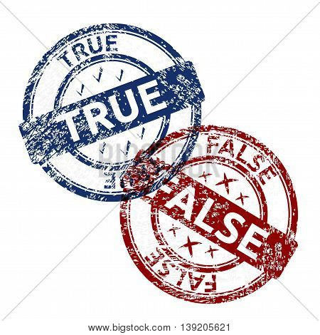 true blue and false red grunge round vintage rubber stamp vector transparent illustration