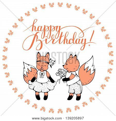 Postcard with foxes and hand lettering