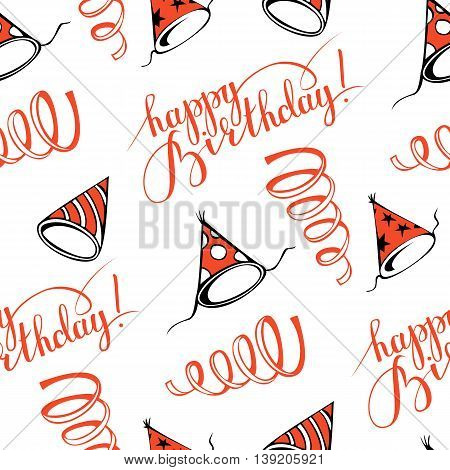 Happy birthday! Seamless pattern with party hats. Hand-drawn illustration. Vector.