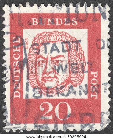 MOSCOW RUSSIA - JANUARY 2016: a post stamp printed in GERMANY shows a portrait of Johann Sebastian Bach the series