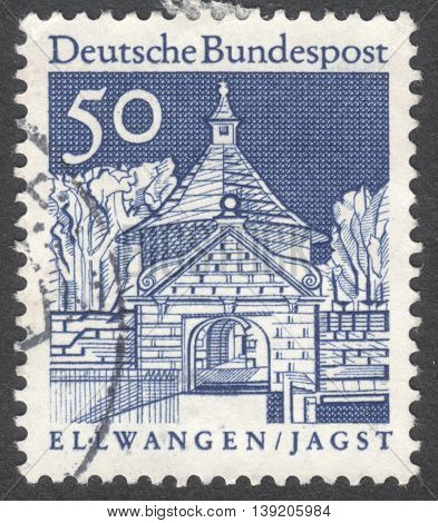 MOSCOW RUSSIA - CIRCA JANUARY 2016: a stamp printed in GERMANY shows Castle Gate Ellwangen the series