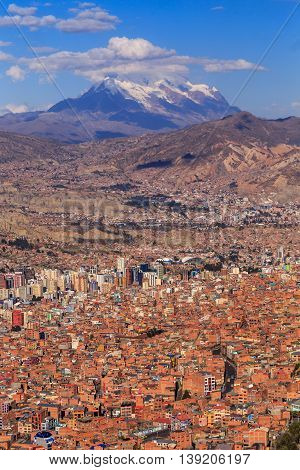 La Paz Colorful Panorama With A Mountain Ina Background, Bolivian Capital