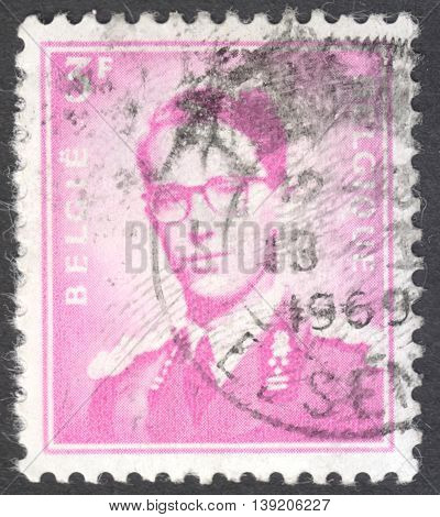 MOSCOW RUSSIA - CIRCA JANUARY 2016: a post stamp printed in BELGIUM shows a portrait of King Baudouin the series