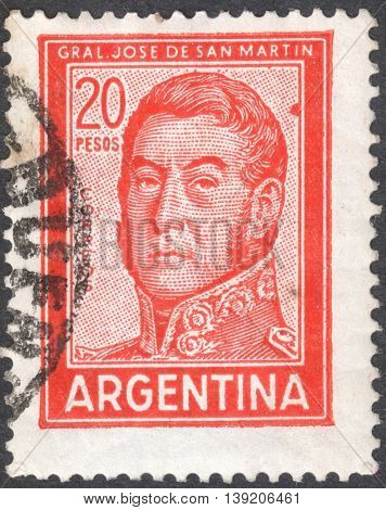 MOSCOW RUSSIA - JANUARY 2016: a post stamp printed in ARGENTINA shows a portrait of General San Martin circa 1967