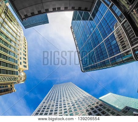 Canary Wharf Skyline In London Hdr