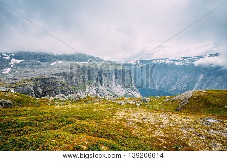 Landscape of Norwegian Mountains. Nature of Norway. Travel and Hiking. Amazing Scenic View. Nobody. Scandinavia.